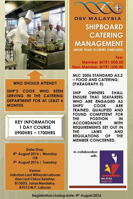 SHIPBOARD CATERING MANAGEMENT COURSE (MORE THAN 10 CREWS ONBOARD)